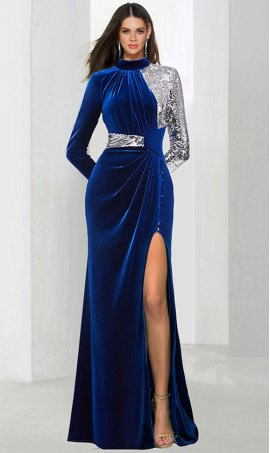 dramaticcontrasting long sleeves hatler neckline high thigh slit sequin velvet Dress Gown