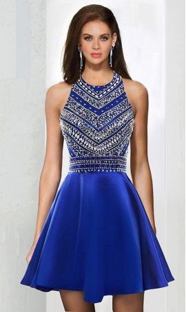 Chic sparkly patternedly beaded halter high neck short satin homecoming prom cocktail party Dress Gown