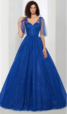 Chic spectacular v neck flutter sleeves sparkle tulle quinceanera ball Dress Gown prom formal evening Dress Gown