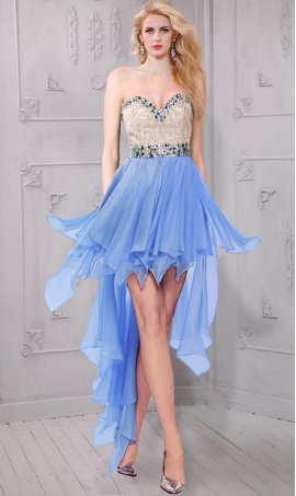 Gorgeous beaded high low hi lo strapless sweetheart two tone chiffon formal prom party Dress Gown
