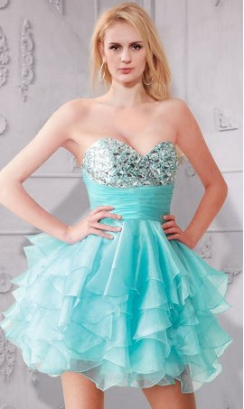 Gorgeous beaded strapless ruffled organza layered A-line short Prom Formal Evening Dress Gown