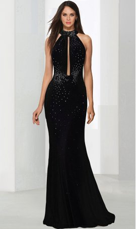 Sassy sheer panel inserted halter neckline scattered crystals embellished floor length jersey Dress Gown