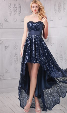 Sassy strapless high low sweetheart hi low sequin Dress Gown