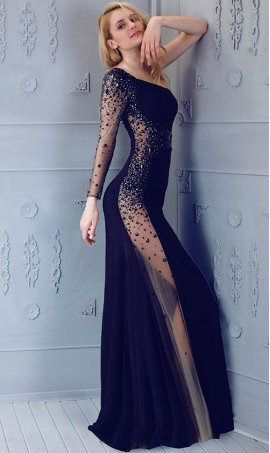 Sassy sprinkling slim one-shouldered long sleeve jersey Prom Formal Evening Dress Gown