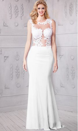 Chic absolutely gorgeous lace appliques sheer illusion high neckline jersey Dress Gown