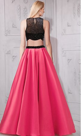 Chic shimmering beaded high neck a line two piece taffeta ball Dress Gown