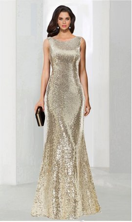 Chic shimmering cowl low back high neck floor length sequin prom formal evening Dress Gown