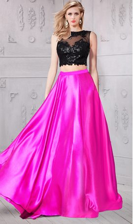 Chic shimmering color block lace sequin bodice two peice ball Dress Gown prom formal evening Dress Gown