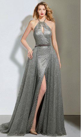 Glittering beaded halter neck high thigh slit sequin evening Dress Gown