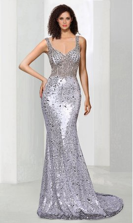 Glittering beaded illusion bodice v neck floor length mermaid sequin prom formal evening Dress Gown