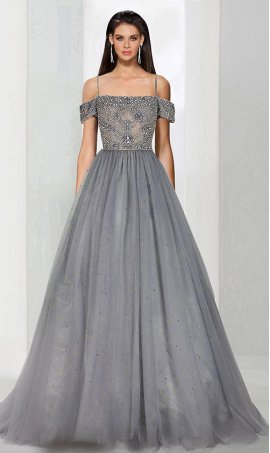 Chic Strappy off-shoulder beaded off the shoulder a line tulle ball Dress Gown Prom Formal Evening Dress Gown