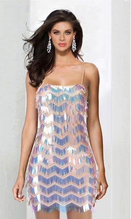 Charming spaghetti straps open back multi colored short sequin Dress Gown