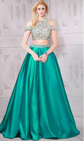 Chic sizzling beaded cutout shoulder sheer illusion satin two piece ball Dress Gown prom formal evening Dress Gown