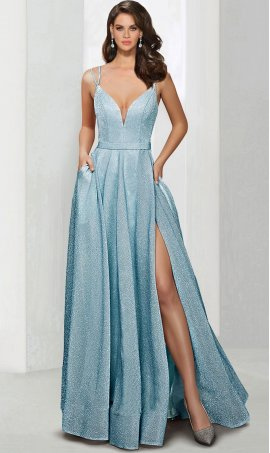 Chic glistening plunging V neckline spaghetti straps glitter high thigh slit prom evening Dress Gown
