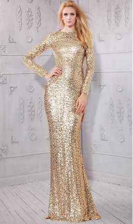 Glittering Round neckline Long sleeves Fitted allover sequins bridemaid formal evening Dress Gown