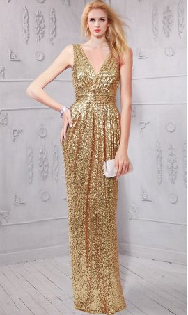 Gorgeous v neck ruched waist floor length sequin bridesmaid prom formal evening Dress Gown