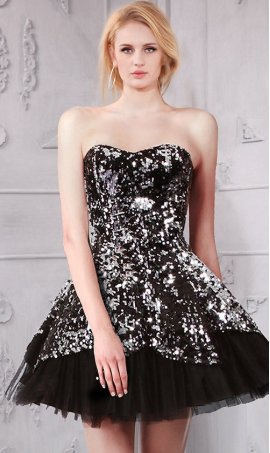 Glittering Sweetheart Sweetheart Sequins embellished short Prom Formal Evening Dress Gown