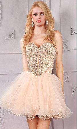 Chic Sparkly Strapless Sweetheart Rhinestone Bodice beaded short tulle Dress Gown