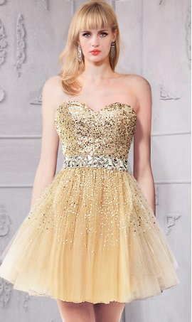 Chic sprinkled beaded sweetheart pleated short sequin tulle party Dress Gown