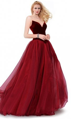 Chic Strapless Lace-Up Back Velvet Top Organza Tiered Skirt Ball Dress Gown For Prom