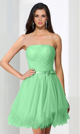 Alluring strapless corset back tulle short mini prom homecoming cocktail party Dress Gown