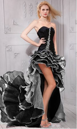 stylish fitted strapless sweetheart ruffled skirt hi lo Prom Formal Evening Dress Gown