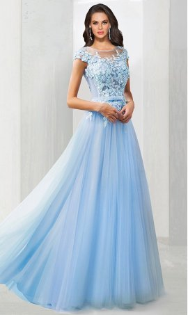 Chic stunning illusion beaded floral lace applique tulle Prom Formal Evening Dress Gown