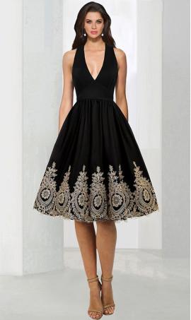 Alluring halter V-neckline Floral Lace Applique Knee length cocktail Dress Gown