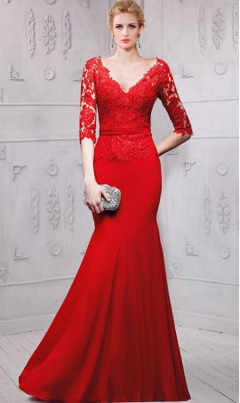 Alluring sheer lace appliques three quarter length sleeves evening Dress Gown