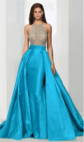 Flawless beaded high neck open back taffeta skirt overlay prom formal evening Dress Gown