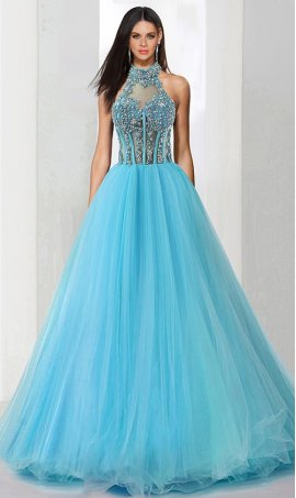 Chic exquisite beaded lace applique illusion halter neckine open back corset style tulle ball Dress Gown Prom Formal Evening Dress Gown