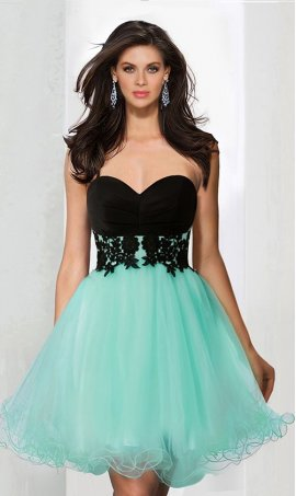 Chic pretty two tone sweetheart beaded lace applique short tulle Dress Gown