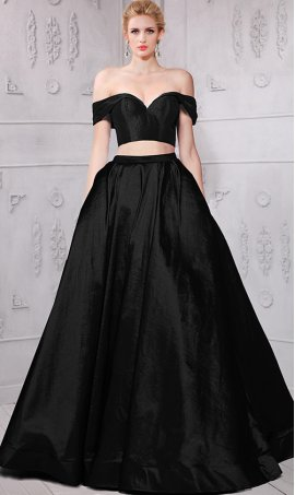 Chic unique design!sassy off the shoulder sweetheart two piece taffeta ball Dress Gown