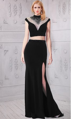 Chic unique sheer illusion beaded high thigh slit two piece jersey Dress Gown