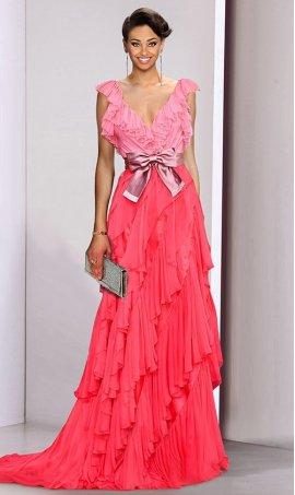 Charming v neck two tone color block ruffled chiffon Dress Gown