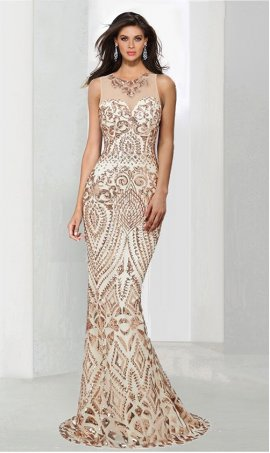 Chic luxurious fully sequined high neck floor length evening Dress Gown