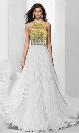 Chic multi color beaded illusion high neck floor length pleated chiffon Dress Gown