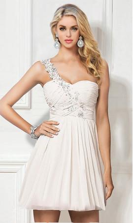 Chic flirty Beaded Short One Shoulder Short Prom Formal Evening Dress Gown