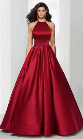 Chic absolutely fabulous beaded high halter neckline fitted a line satin ball Dress Gown