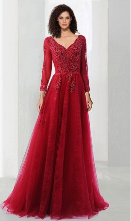 Chic captivating long sleeves beaded lace applique a line lace underlay evening Dress Gown