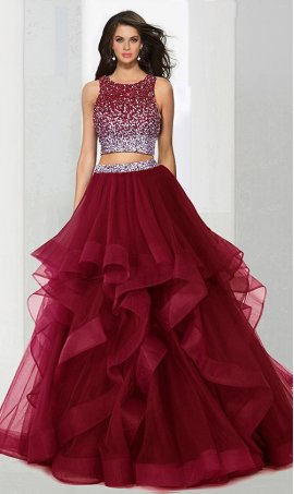 Chic bedazzled beaded ombre crop top tiered tulle ball Dress Gown Prom Formal Evening Dress Gown