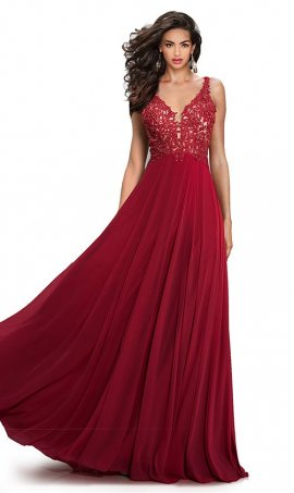 elegant v-neck lace-applique open v-back formal evening homecoming prom ballroom Dress Gown es